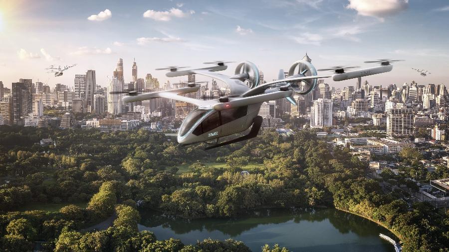 Carro voador eVTOL, da Embraer: as companhias utilizarão helicópteros para validar o conceito a ser adotado com as aeronaves elétricas - Divulgação/Embraer