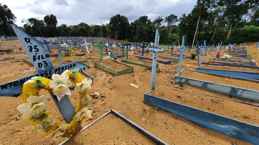 Cemitério Parque de Manaus tem ala lotada para sepultamentos por mortes de covid - Carlos Madeiro/UOL