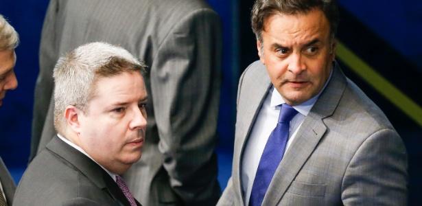Anastasia (à esquerda) e Aécio Neves no Senado em setembro de 2015