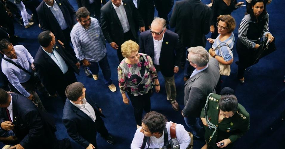 8.abr.2016 - A presidente Dilma Roussef visita as instalações do Estádio Aquático dos Jogos do Rio 2016. Localizada no Parque Olímpico, o estádio será palco das disputas de natação, polo aquático e natação paralímpica