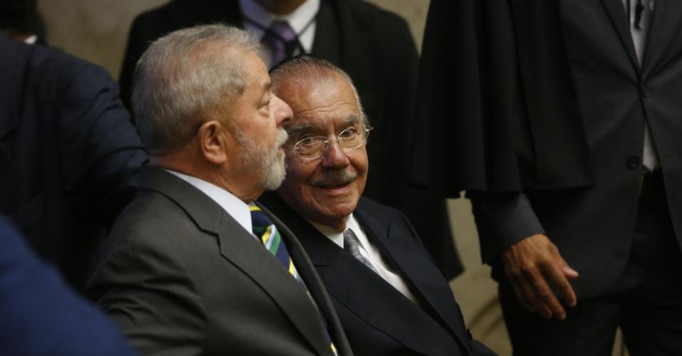 Os ex-presidentes da República Luiz Inácio Lula da Silva e José Sarney durante a cerimônia de posse da ministra Cármen Lúcia no cargo de presidente do STF (Supremo Tribunal Federal)
