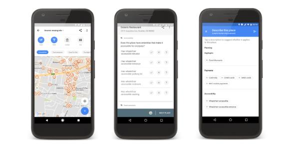 Google Maps com informações sobre acessibilidade