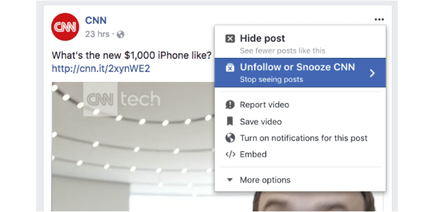 Facebook testa opção de silenciar amigos temporariamente