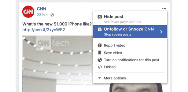 Facebook testa opção de silenciar amigos temporariamente - Reprodução/Techcrunch