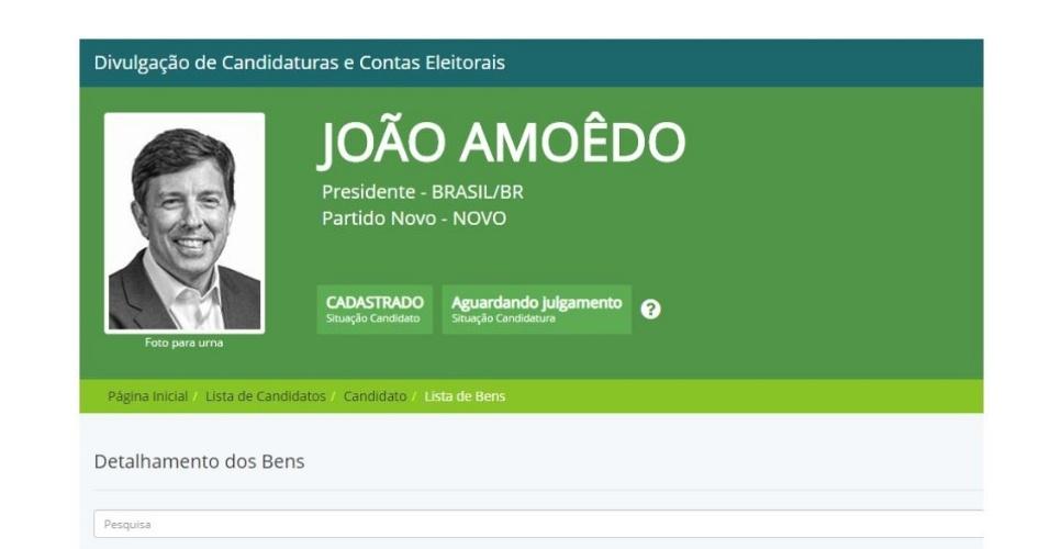 Presidenciável do Novo | João Amoêdo registra candidatura e declara ao TSE R$ 425 mi em bens