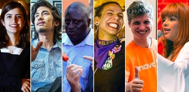 A partir da esq., Tabata Amaral, Kim Kataguiri, Helio Negão, Áurea Carolina, Marcel Van Hattem e Flordelis, algumas das novas caras que estarão no Congresso em 2019
