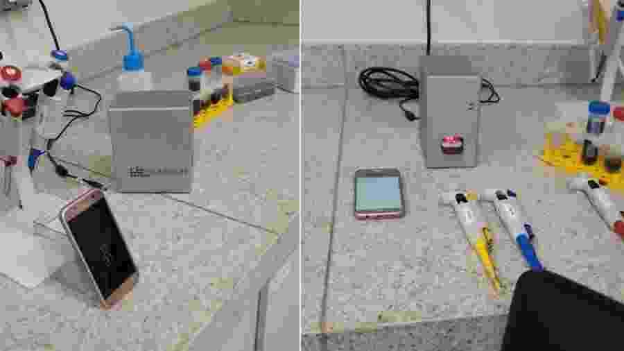 Kit contém leitor ótico feito de alumínio e solução com nanobastões de ouro - Divulgação/UFMG