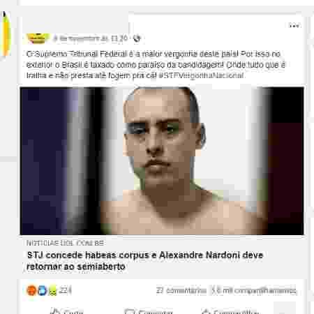 11.nov.2019 - Post com notícia antiga sobre Nardoni teve 3,8 mil compartilhamentos antes de ser apagado - Reprodução/Facebook