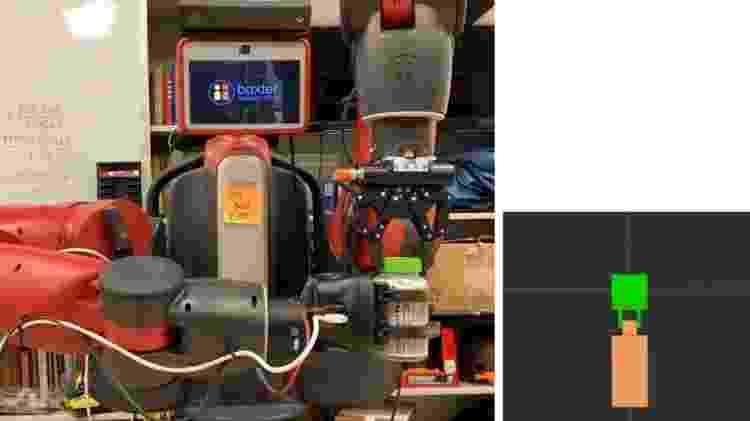 Imagem de vídeo com explicação simbólica (esq.) e háptica da ação do robô - Reprodução/ Edmonds et al./Science Robotics