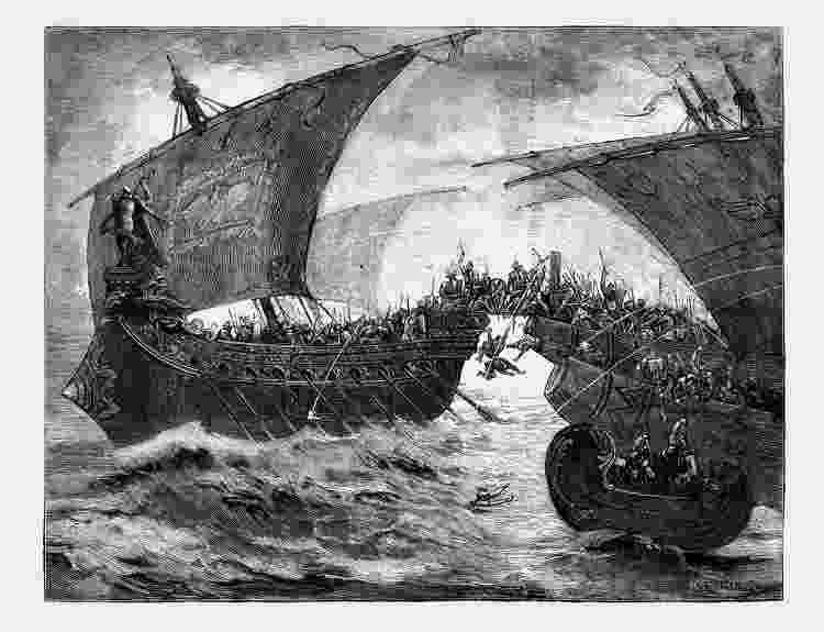 Ilustração da Batalha de Accio - Getty Images - Getty Images