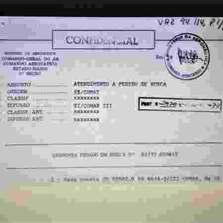 """Resposta a um """"Pedido de Busca"""" emitido pela Aeronáutica durante a ditadura militar, em 1977 - Arquivo Nacional/Brasília"""