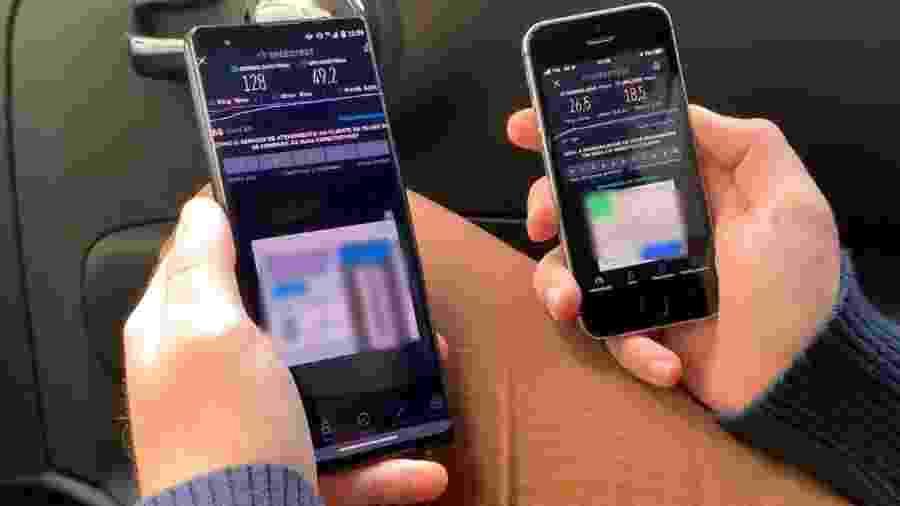 Comparação do 5G DSS com o 4G normal nas ruas de São Paulo; 5G DSS obteve download de 128 Mbps, contra 26,5 Mbps do 4G - Rodrigo Trindade/UOL