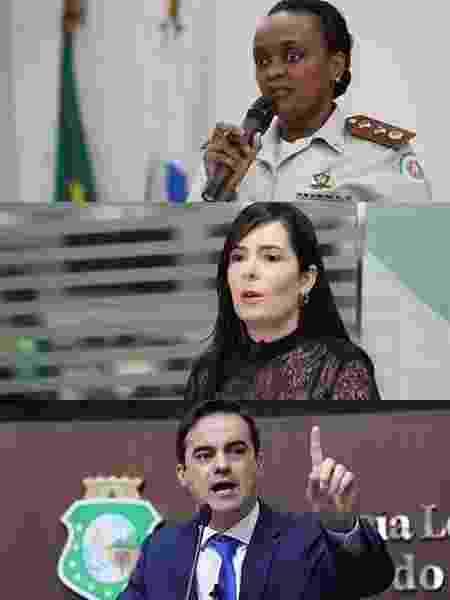 A partir do alto, os pré-candidatos Major Denice (PT), Patrícia Domingos (Podemos) e Capitão Wagner (PROS) - Arte/UOL