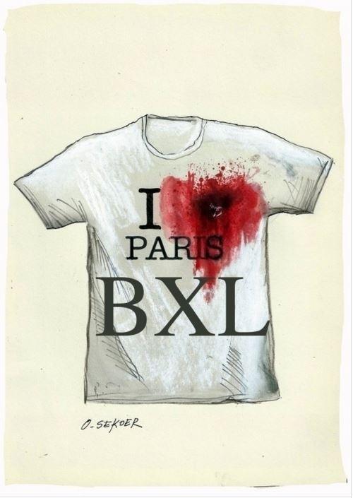 22.mar.2016 - O cartunista belga Luc Descheemaeker também divulgou um desenho em solidariedade às vítimas do ataque terrorista ao coração da Europa. Primeiro Paris, depois Bruxelas, sede da União Europeia