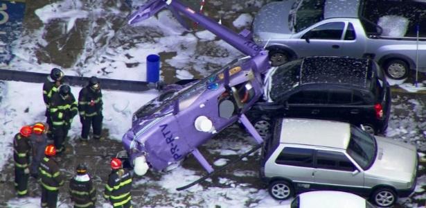 Imagem de TV mostra helicóptero que caiu em Osasco