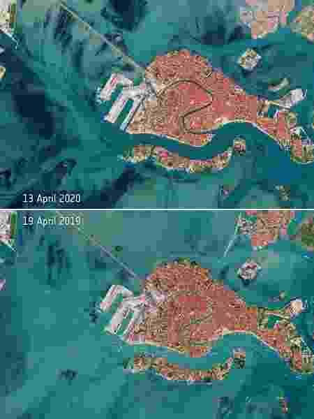 Imagens do espaço mostram como o coronavírus mudou canais de Veneza - Divulgação/Agência Espacial Europeia
