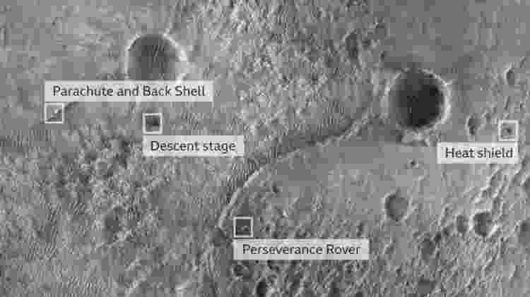 A primeira imagem da Perseverance na superfície foi tirada pela câmera High Resolution Imaging Experiment a bordo do Mars Reconnaissance Orbiter da Nasa - Nasa/JPL-Caltech/MSSS - Nasa/JPL-Caltech/MSSS