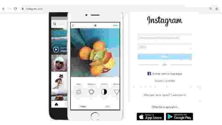 Instagram no PC - passo 1 - Reprodução - Reprodução