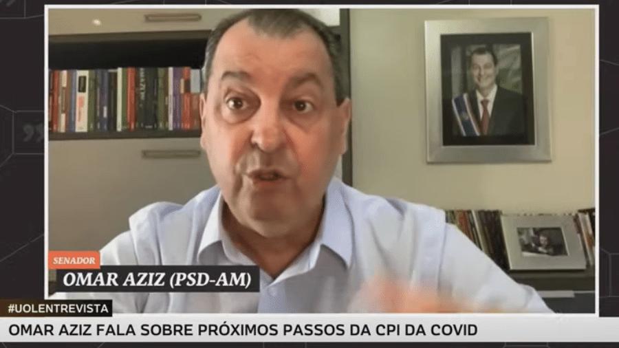 O presidente da CPI da Covid, senador Omar Aziz (PSD-AM), declarou que o presidente Jair Bolsonaro (sem partido) deveria se vacinar conta a covid-19 para dar exemplo para a sociedade brasileira. - UOL
