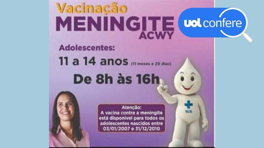 18.jun.2021 - Imagem que circula no WhatsApp fala de vacina para meningite sem identificar suposto local de vacinação e já foi desmentido em várias cidades - Reprodução/WhatsApp