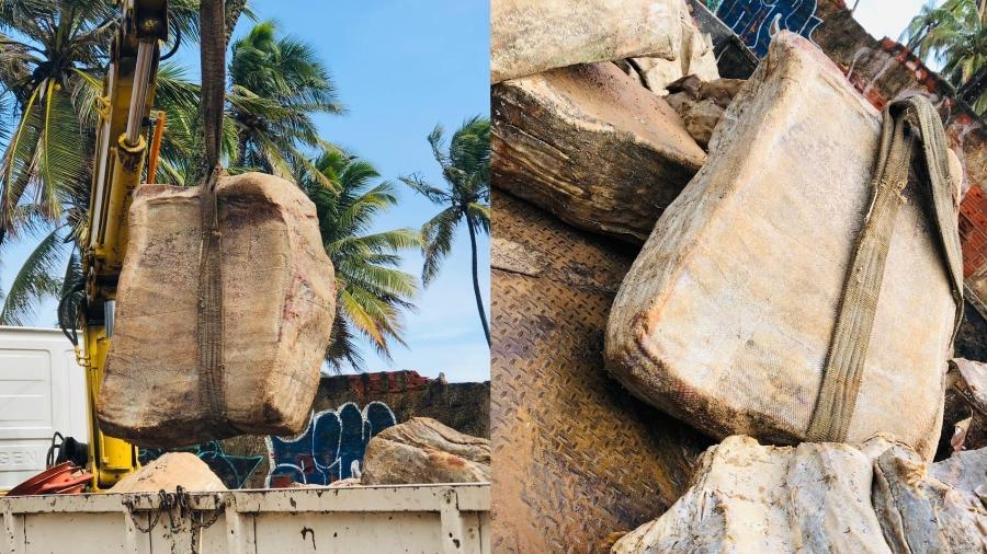 Dez caixas foram encontradas na Praia do Flamengo ontem e outras duas hoje - Divulgação/Limpurb