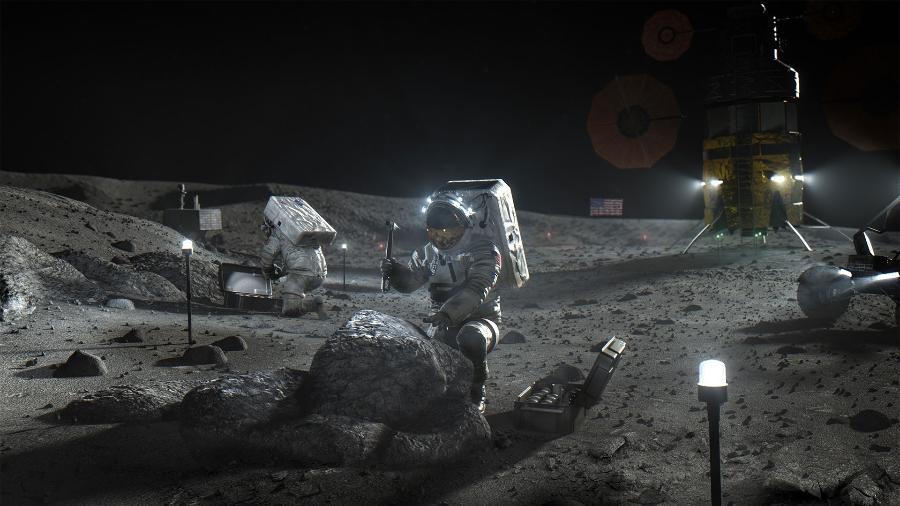 Arte divulgada pela Nasa ilustra o projeto Artemis, que pretende instalar uma base na Lua a partir de 2024 - Nasa