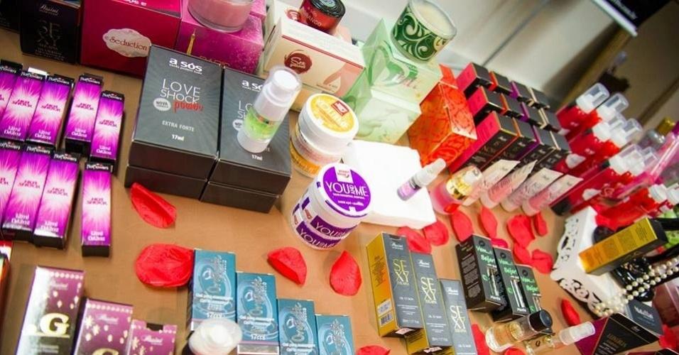 Produtos comercializados pela empresa Mata Hari Boutique Sensual, que faz eventos sensuais e vende produtos eróticos