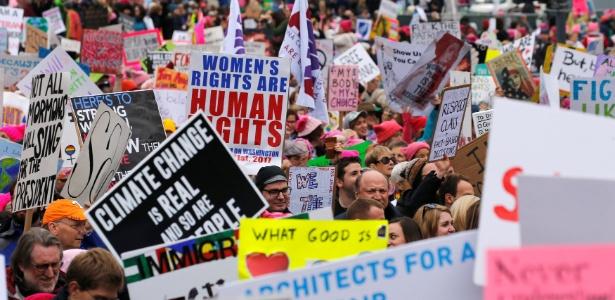 Marcha das Mulheres reuniões centenas de milhares de pessoas em Washington