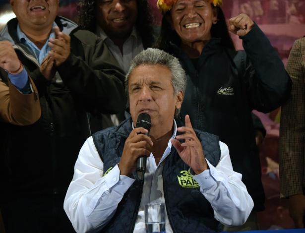 Lenín Moreno fala durante coletiva de imprensa em Quito nesta segunda (20)