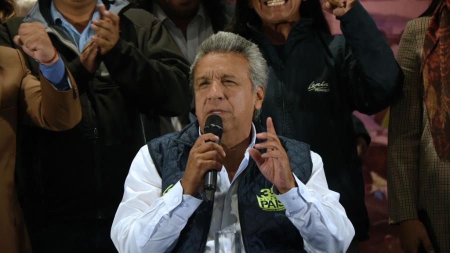 20.fev.2017 - Lenín Moreno fala durante coletiva de imprensa em Quito nesta segunda (20) - Rodrigo Buendia/AFP Photo