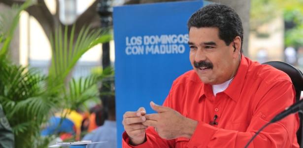 "Nicolás Maduro fala durante seu programa semanal ""Los Domingos com Maduro"""