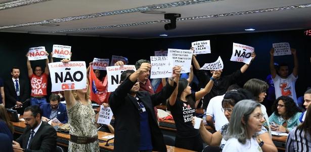 11.jul.2018 -  Protesto durante discussão do projeto Escola Sem Partido em Comissão Especial - Alex Ferreira/Agência Câmara