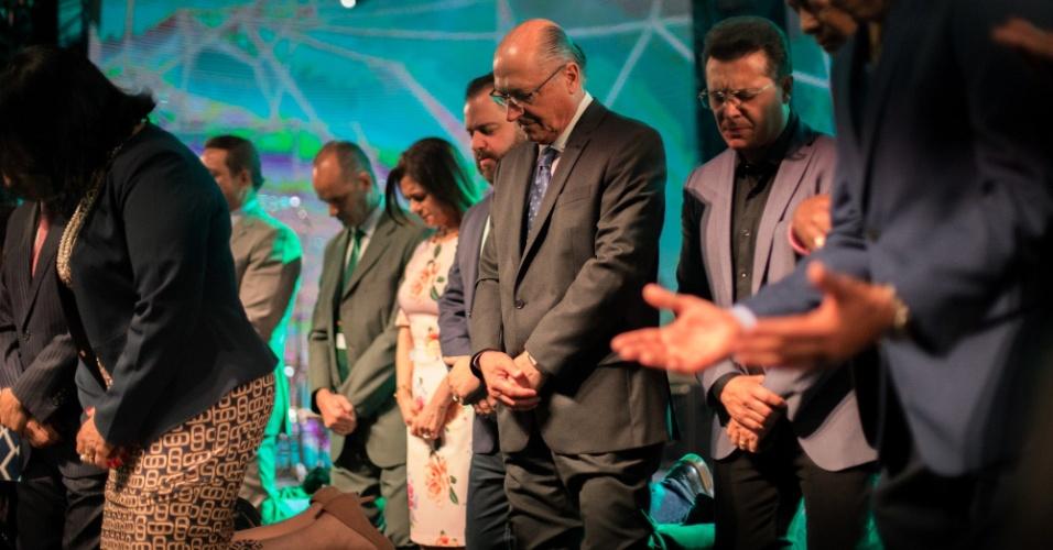 27.set.2018 - O candidato à presidência da República pelo PSDB, Geraldo Alckmin, participa da abertura da 14ª Expo Cristã, no Centro de Exposições Anhembi, zona norte da capital paulista, nesta quinta-feira