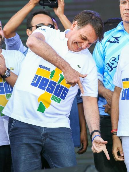 20.jun.2019 - Jair Bolsonaro participa da Marcha para Jesus em São Paulo - Jales Valquer/Framephoto/Framephoto/Estadão Conteúdo
