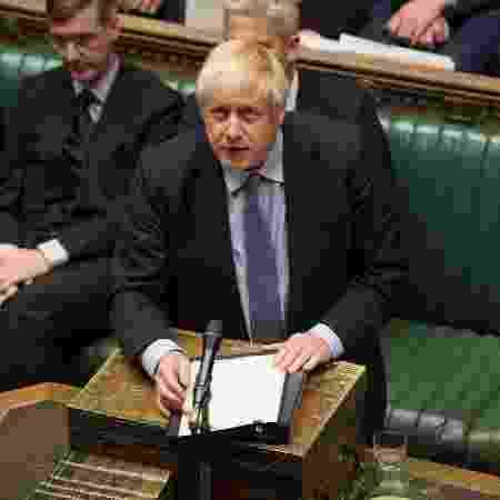 4.set.2019 - O premiê Boris Johnson fala durante debate na Câmara dos Comuns, em Londres - UK Parliament/Jessica Taylor/Reuters