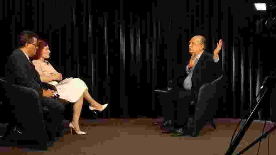 Gilmar Mendes participa de programa de entrevistas do UOL e da Folha, em Brasília - Mariana Goulart/Folhapress