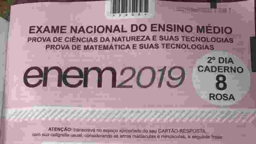 Capa da prova rosa do segundo dia do Enem 2019 - Marina Lang/UOL