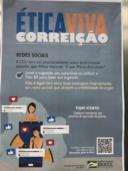 """Publicação da CGU distribuída entre servidores da União sobre uso das redes sociais no governo Bolsonaro - CGU/Campanha """"Ética Viva"""""""