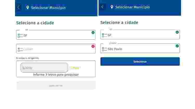 Anatel Comparador: tela 2 - escolha de municípios - Reprodução - Reprodução