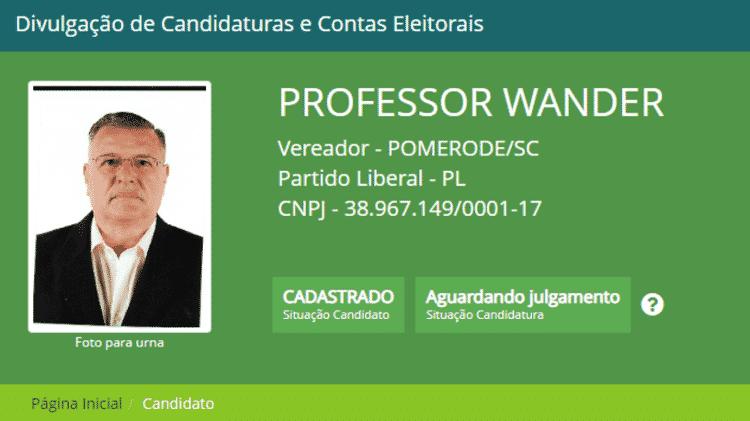 Professor Wander - Reprodução/Site do TSE - Reprodução/Site do TSE