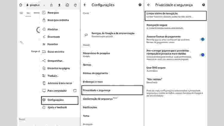 Chrome app - apagar cache - Reprodução - Reprodução
