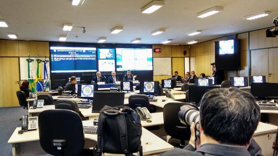 Sala de monitoramento do Centro de Inteligência Nacional da Abin (Agencia Brasileira de Inteligência), na sede do órgão em Brasília, em julho de 2016 - Rubens Valente/UOL