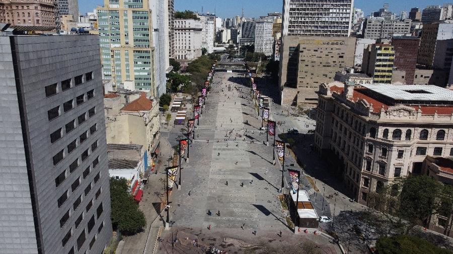 Vale do Anhangabaú, no centro da cidade de São Paulo, é reaberto neste domingo,  25 de julho de 2021 - Nelson Antoine/Estadão Conteúdo