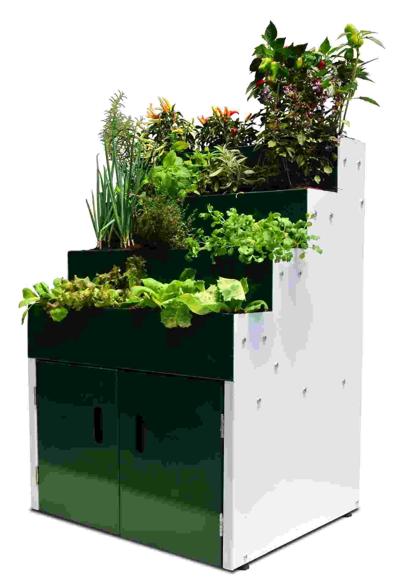 A mini-horta Garni é uma linha de jardinagem da empresa Mobko, fabricante de móveis para escritório - Divulgação