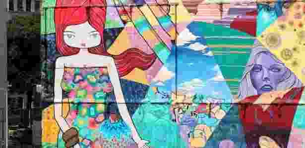 23.fev.2016 - Detalhe do grafite feito pelo artista Toz em um prédio na rua Sacadura Cabral, na zona portuária do Rio de Janeiro - Júlio César Guimarães/UOL - Júlio César Guimarães/UOL