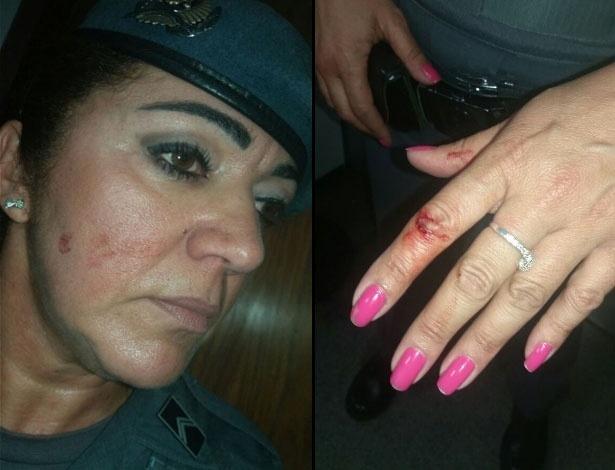 PM Vânia foi agredida por manifestantes na Assembleia Legislativa, segundo a PM. Ela Teve escoriações no rosto e nas mãos