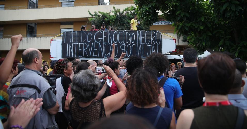 15.mar.2018 - - Ato realizado pelo PSOL na Praça da Estação, no centro de Belo Horizonte (MG), nesta quinta-feira (15)