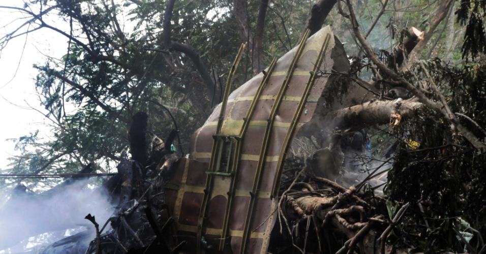 18.mai.2018 - Destroços de Boeing-737 que caiu em Cuba pouco tempo depois de decolar do Aeroporto Internacional José Martí, nos arredores de Havana