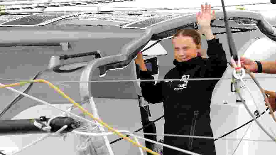 28.ago.2019 - A jovem ativista ambiental sueca Greta Thunberg chegou hoje em Nova York após cruzar o Atlântico em um veleiro - Mike Segar/Reuters