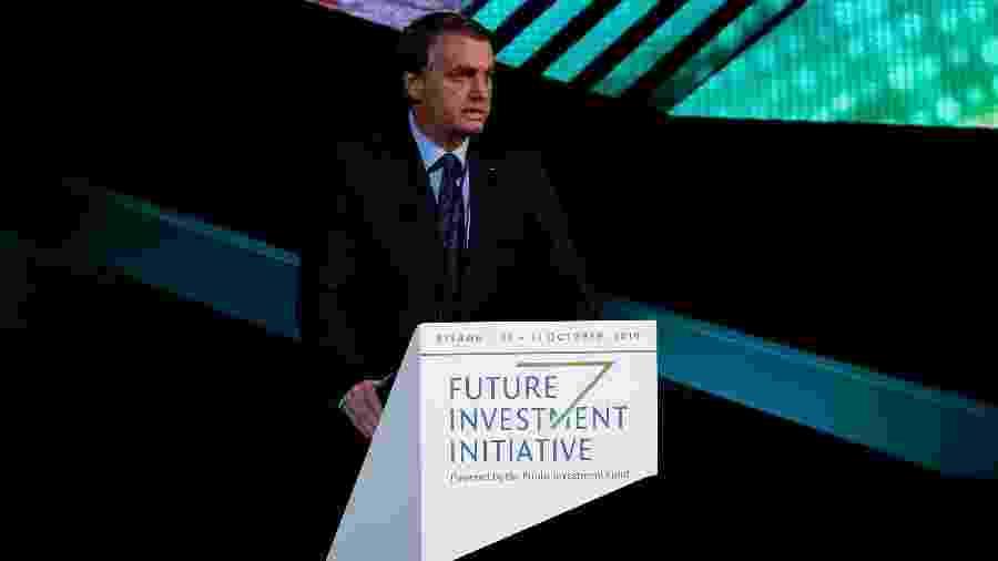 O presidente Jair Bolsonaro (PSL) em fórum de investidores na Arábia Saudita,  - Hamad I Mohammed/Reuters